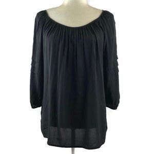 Ann Taylor Loft Black Ruffle Sleeve Peasant Top
